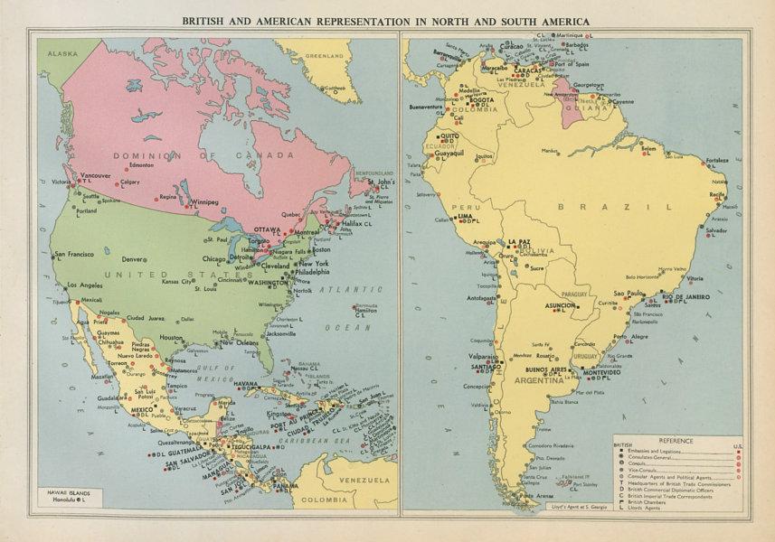 Associate Product British & American Diplomatic Representation in North & South America 1952 map