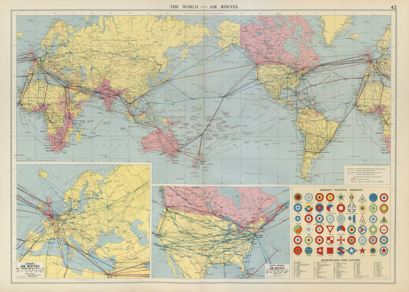 Associate Product World Europe North America air routes. National Aircraft Markings LARGE 1952 map