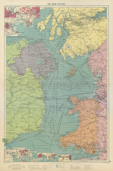 Associate Product Irish Sea sea chart. Ports lighthouses mail routes dockyards. LARGE 1959 map