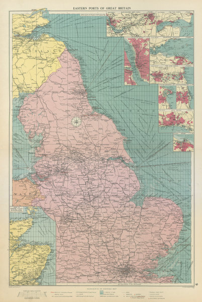 Associate Product Great Britain east coast ports sea chart lighthouses mail routes LARGE 1959 map