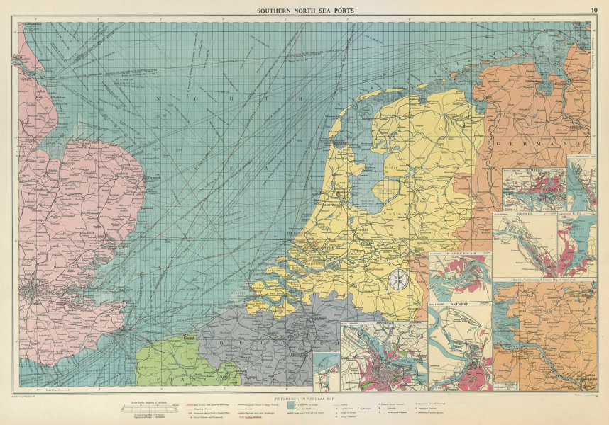 Associate Product Southern North Sea ports chart. lighthouses mail routes. UK NL. LARGE 1959 map