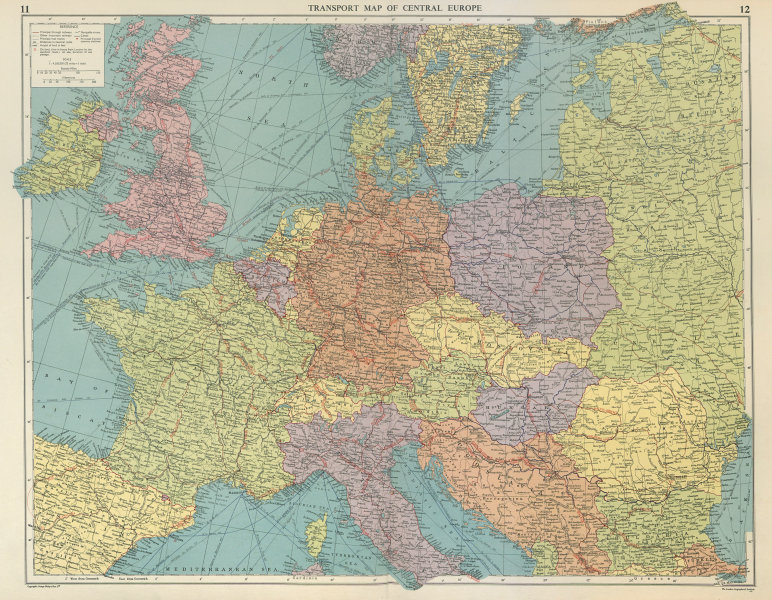 Associate Product Transport Map of Central Europe. Railways mail routes. LARGE 1959 old
