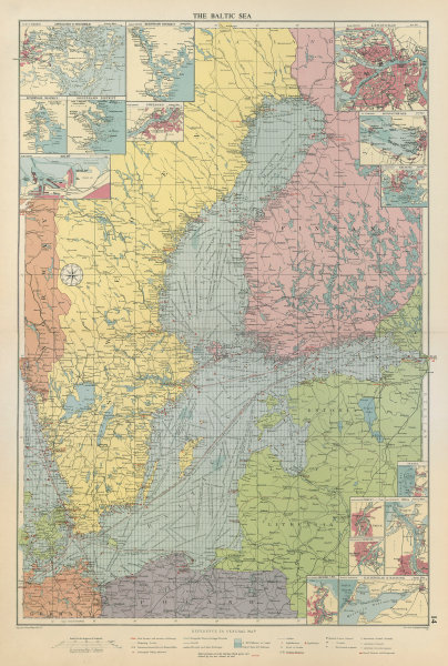 Associate Product Baltic Sea sea chart. Ports lighthouses mail routes dockyards. LARGE 1959 map