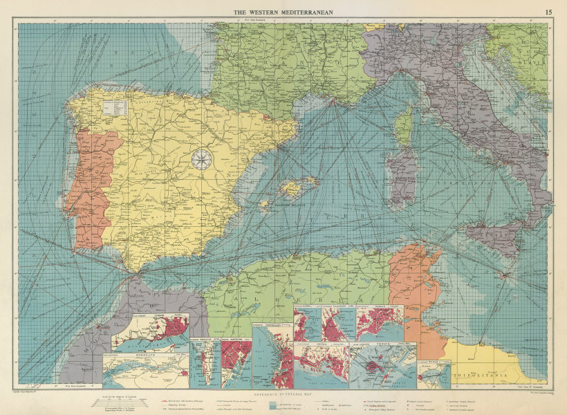 Associate Product Western Mediterranean sea chart. Ports lighthouses mail routes. LARGE 1959 map