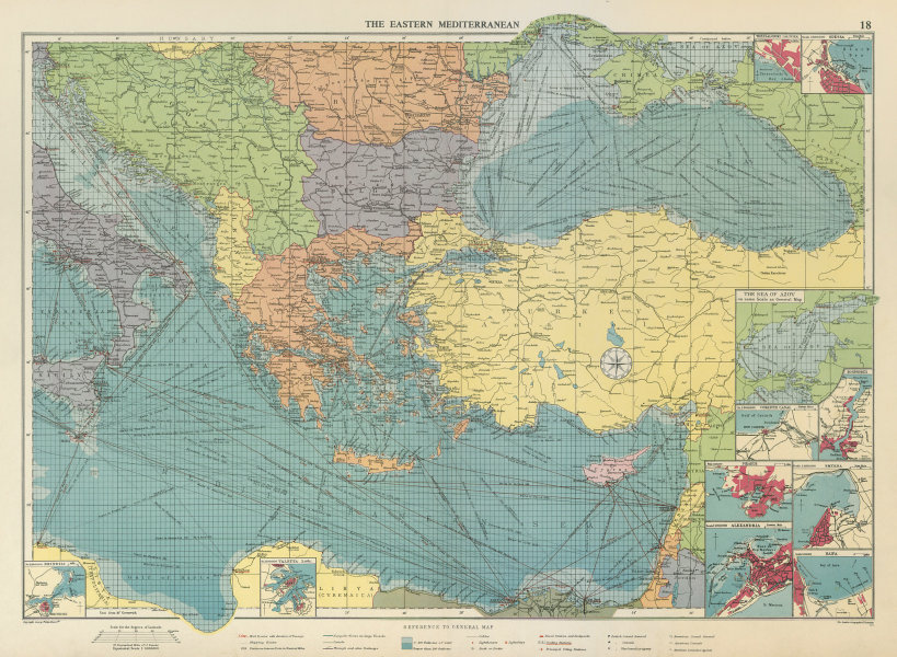 Associate Product Eastern Mediterranean & Black Sea chart. Ports lighthouses mail. LARGE 1959 map