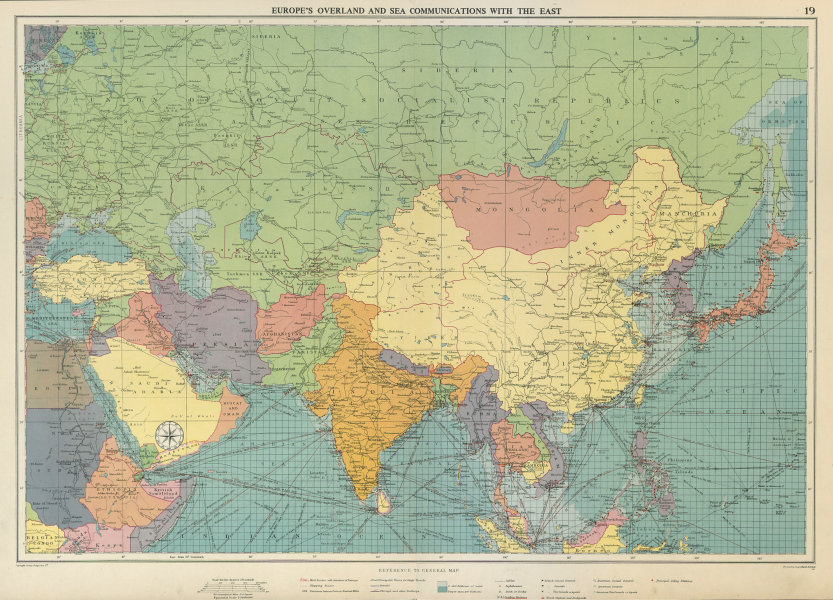 Associate Product Europe's Overland & Sea Communications with Asia. Chart. LARGE 1959 old map
