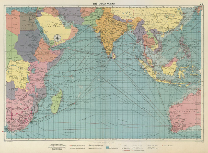 Associate Product Indian Ocean sea chart. Ports lighthouses mail routes dockyards. LARGE 1959 map