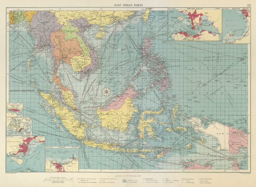 Associate Product East Indies Ports sea chart. lighthouses mail routes. Indochina. LARGE 1959 map