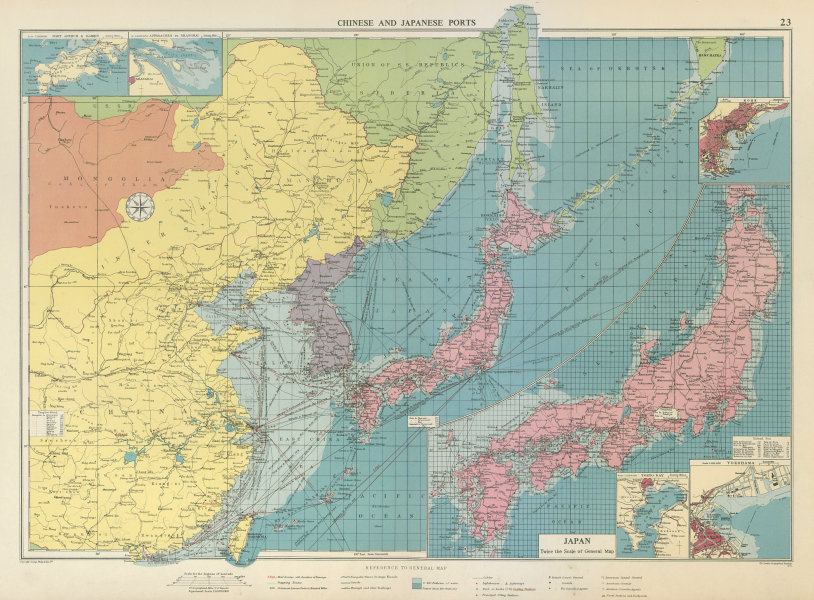 Associate Product Chinese & Japanese Ports sea chart. lighthouses mail routes. LARGE 1959 map