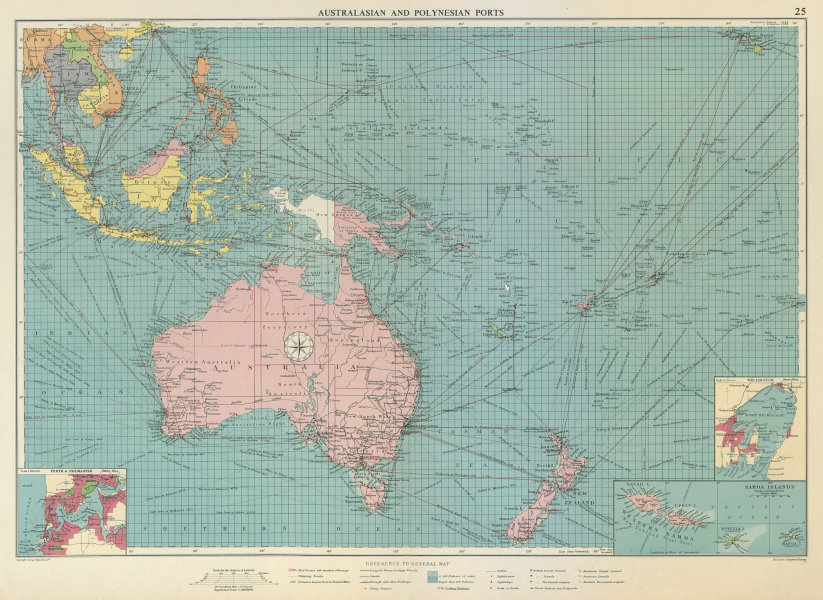 Associate Product Australasian Polynesian Ports sea chart. lighthouses mail routes LARGE 1959 map