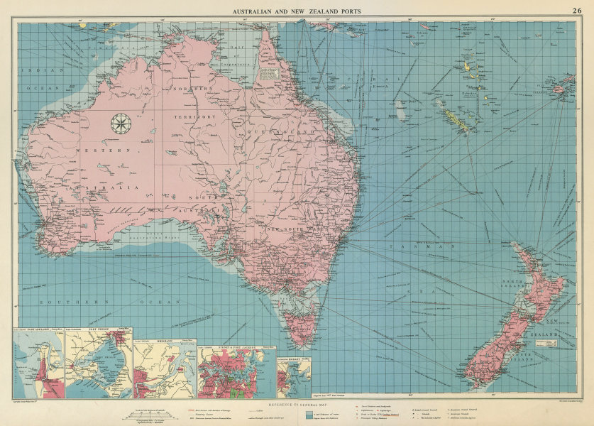Australian & New Zealand ports chart lighthouses mail route LARGE 1959 old map