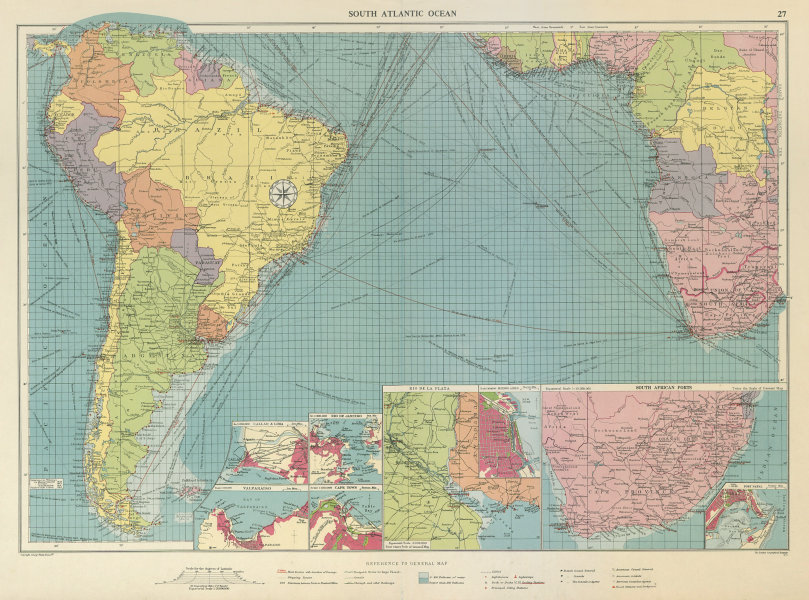 Associate Product South Atlantic Ocean sea chart. Ports lighthouses mail routes. LARGE 1959 map