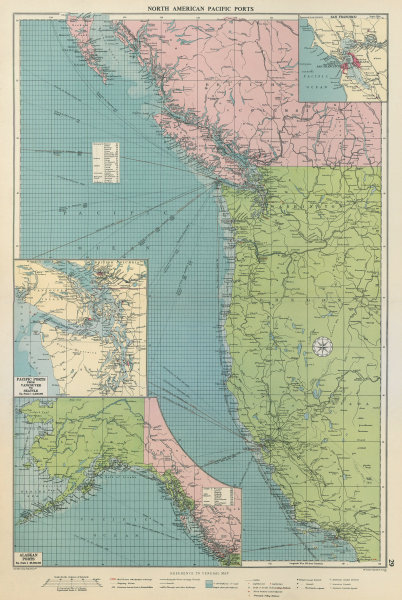 Associate Product US Canada North America Pacific Ports sea chart Vancouver SF LA LARGE 1959 map