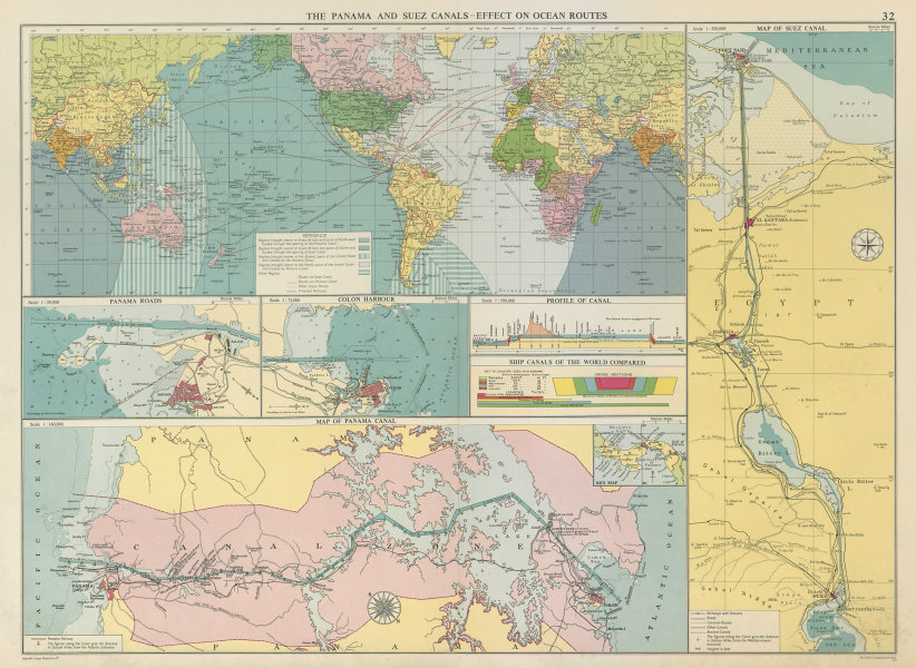 Associate Product PANAMA & SUEZ CANALS effect on Ocean Routes. Maps profiles. LARGE 1959 old