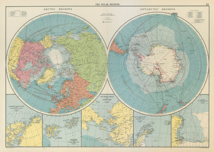 Associate Product Polar Regions. Arctic/Antarctic sea chart. Steamer routes. LARGE 1959 old map
