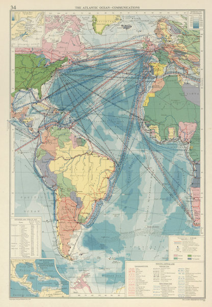 Associate Product Atlantic Ocean. Cables Wireless Stations Land visibility Shipping lines 1959 map