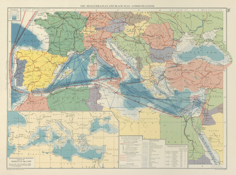 Associate Product Mediterranean & Black Seas. Cables. Land visibility. Shipping lines 1959 map
