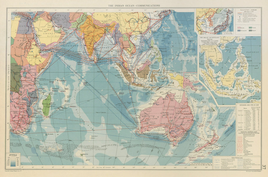 Associate Product Indian Ocean. Cables Wireless Stations. Land visibility. Shipping lines 1959 map