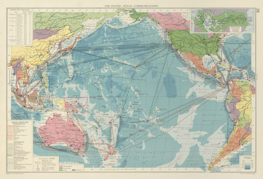 Associate Product Pacific Ocean. Cables & Wireless Stations. Shipping lines companies 1959 map