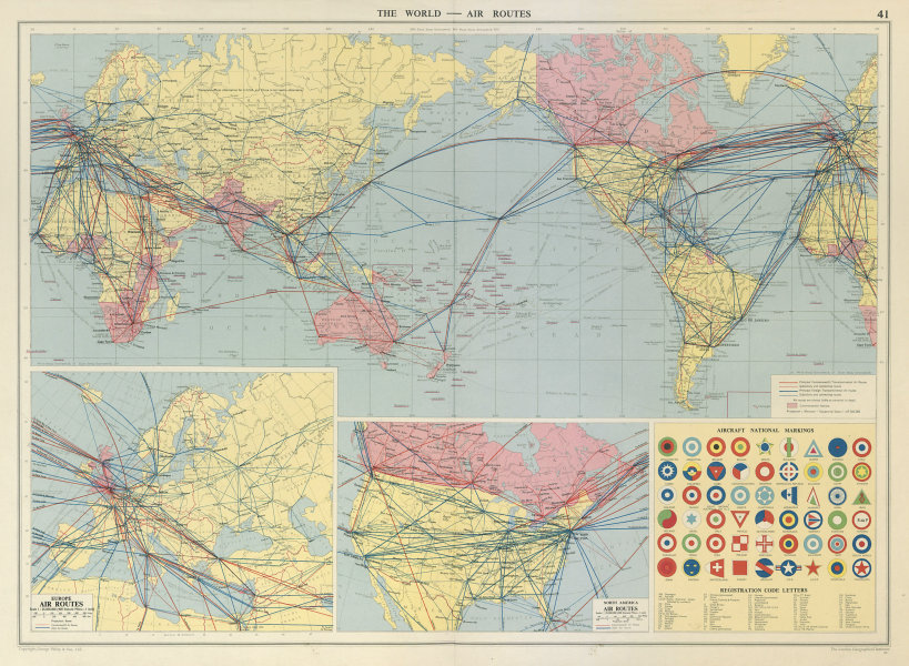 Associate Product World Europe North America air routes. National Aircraft Markings LARGE 1959 map