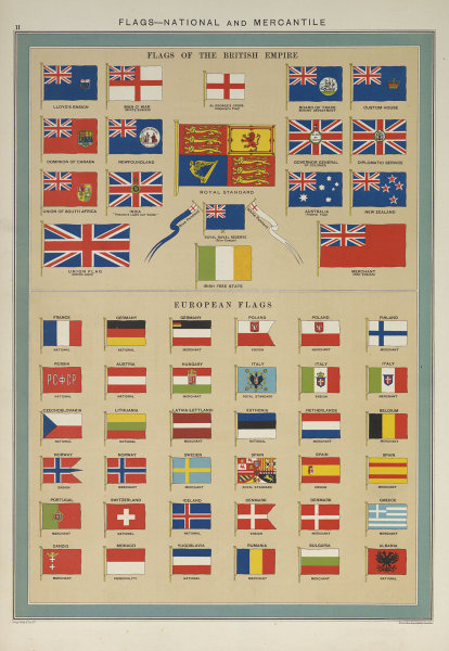 National Mercantile/Marine Flags. British Empire European Soviet Russia 1927
