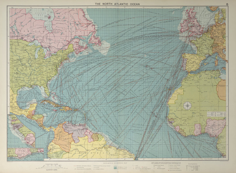 North Atlantic Ocean sea chart. Ports lighthouses mail routes. LARGE 1927 map