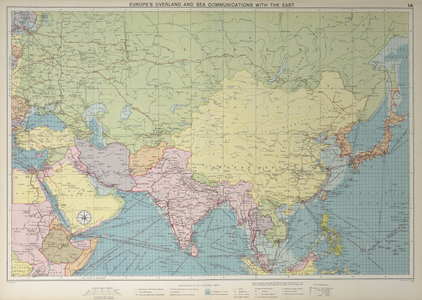 Europe's Overland & Sea Communications with Asia. Chart. LARGE 1927 old map
