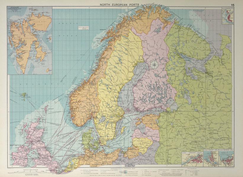 Scandinavia Russia sea chart. Ports lighthouses. Arctic Ocean Bothnia 1927 map