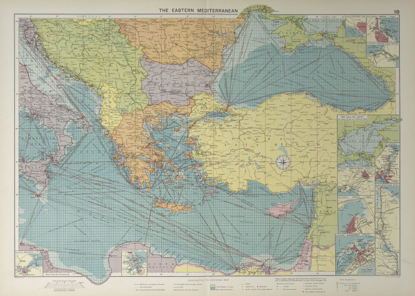 Eastern Mediterranean & Black Sea chart. Ports lighthouses mail. LARGE 1927 map