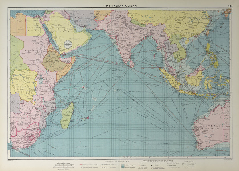 Indian Ocean sea chart. Ports lighthouses mail routes dockyards. LARGE 1927 map