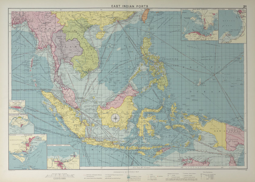 East Indies Ports sea chart. lighthouses mail routes. Indochina. LARGE 1927 map