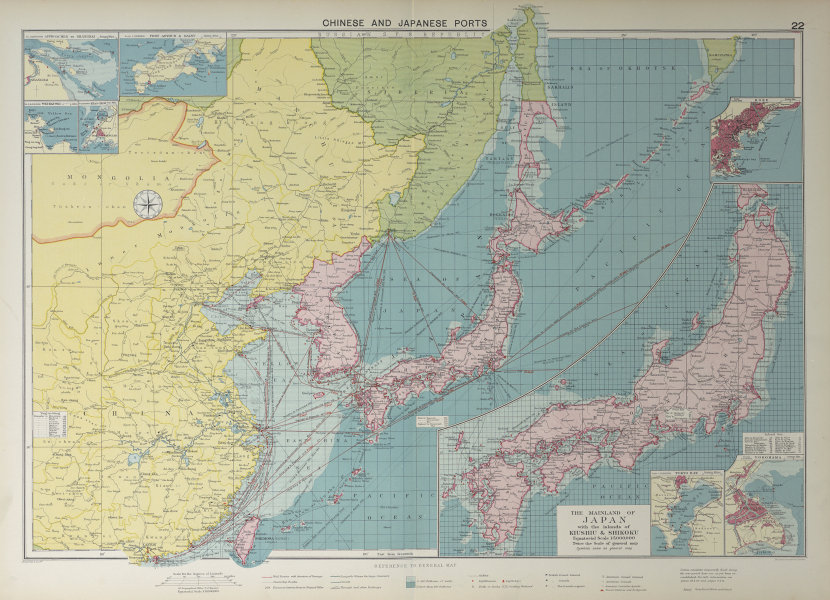 Chinese Japanese Korean Ports sea chart. lighthouses mail routes. LARGE 1927 map