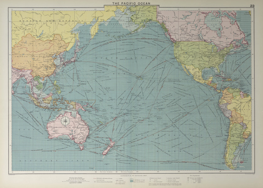 Pacific Ocean sea chart. Ports lighthouses mail routes dockyards LARGE 1927 map