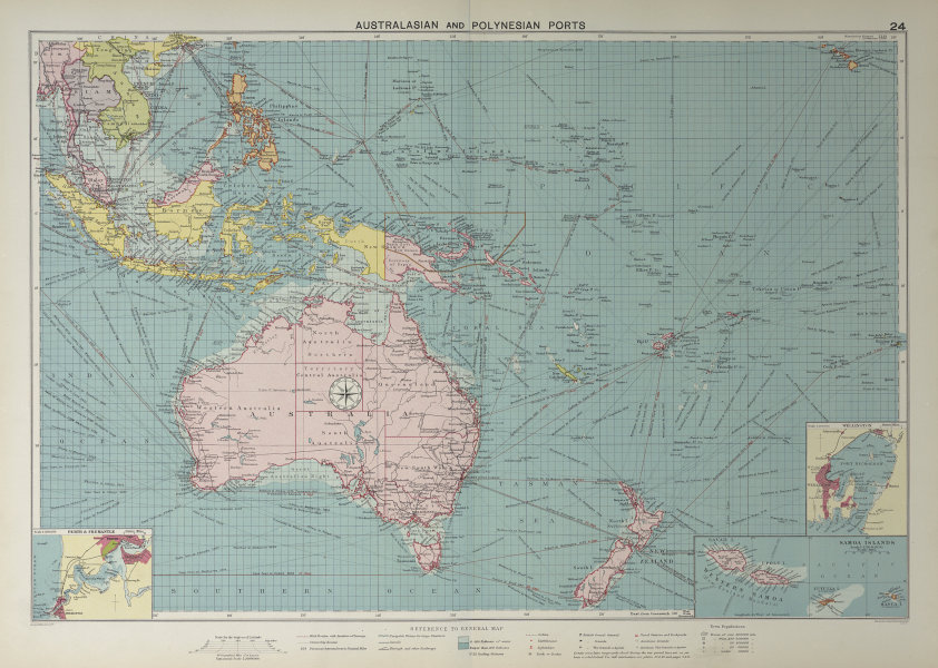 Australasian Polynesian Ports sea chart. lighthouses mail routes LARGE 1927 map