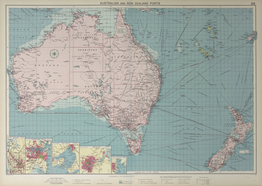 Australian & New Zealand ports chart lighthouses mail route LARGE 1927 old map