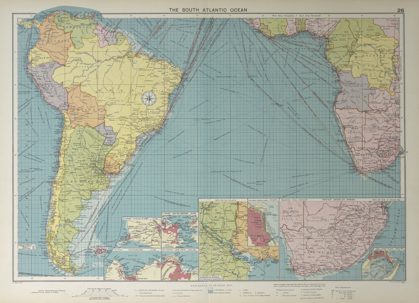 South Atlantic Ocean sea chart. Ports lighthouses mail routes. LARGE 1927 map