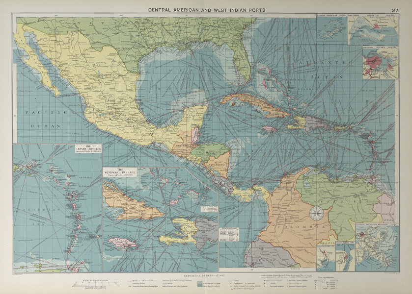 Central America Caribbean Gulf of Mexico chart Ports lighthouses LARGE 1927 map