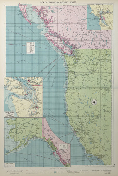 US Canada North America Pacific Ports sea chart Vancouver Seattle LARGE 1927 map