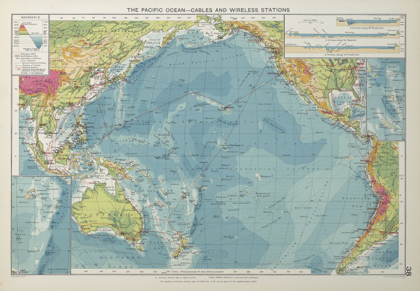 Pacific Ocean. Cables & Wireless Stations. Shipping routes 1927 old map