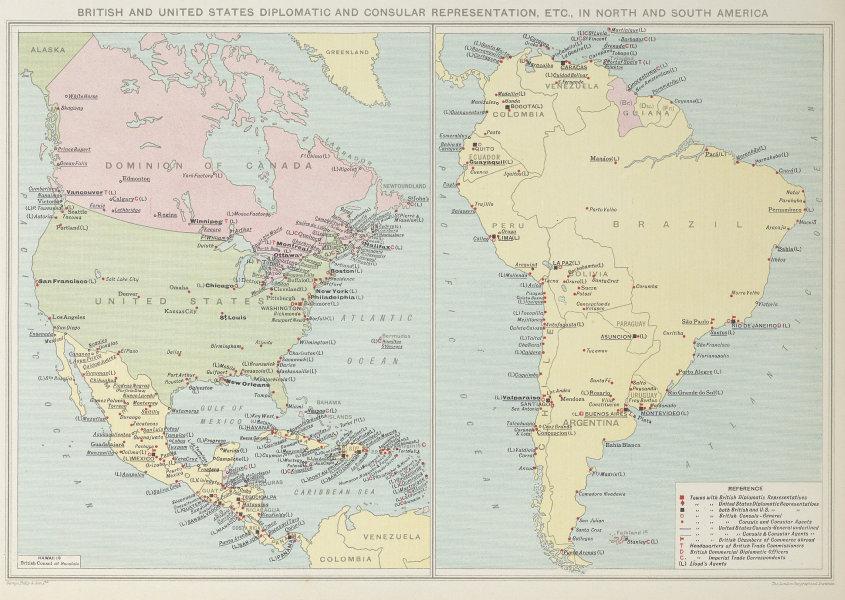 British & American Diplomatic Representation in North & South America 1927 map