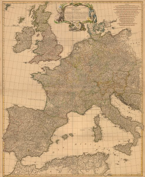 Associate Product 'Prémière partie de la carte d'Europe'. D'ANVILLE. Western Europe 1756 old map