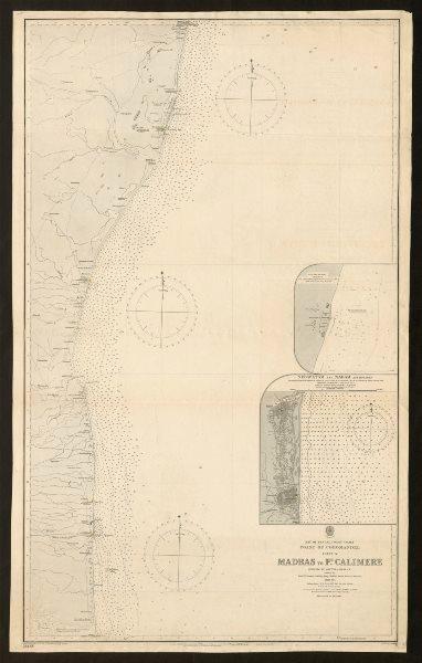 Associate Product Coromandel coast nautical sea chart. Madras. Tamil Nadu. Admiralty 1885 map