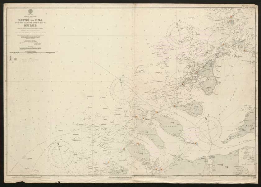 Associate Product Norway coast sea chart. Lepso - Ona. Molde approaches. Admiralty 1904 map