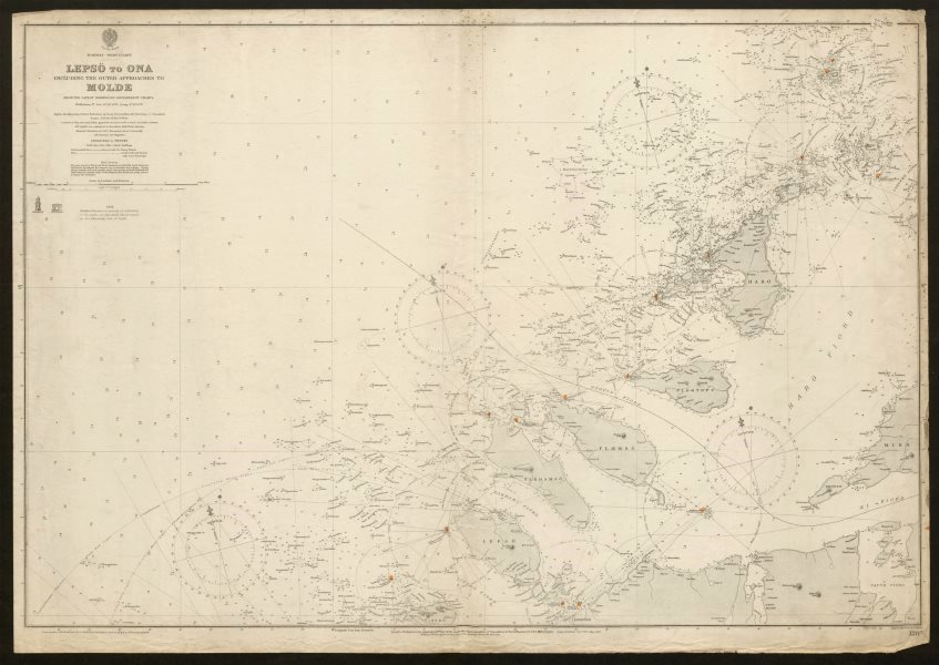 Associate Product Norway coast sea chart. Møre og Romsdal. Molde approaches. Admiralty 1904 map