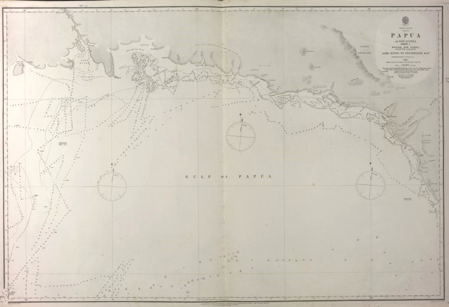 British New Guinea South Coast. Aird River. Admiralty sea chart 1880 old map