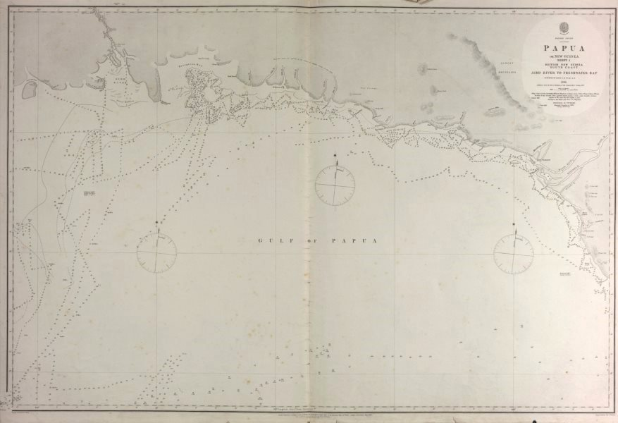 Associate Product British New Guinea South Coast. Freshwater Bay. Admiralty sea chart 1880 map