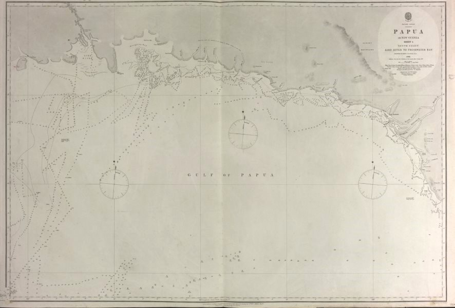Associate Product British New Guinea South Coast. Deception Bay. Admiralty sea chart 1880 map