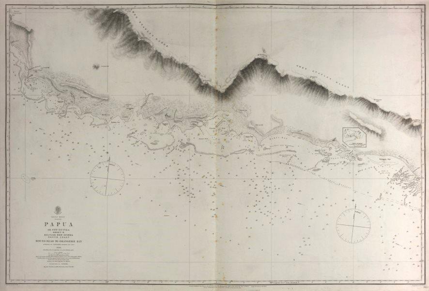 Associate Product British New Guinea South Coast. Orangerie Bay. Admiralty sea chart 1880 map
