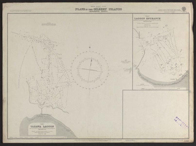 Associate Product Tarawa Lagoon. Gilbert Islands. Kiribati. Admiralty nautical sea chart 1920 map