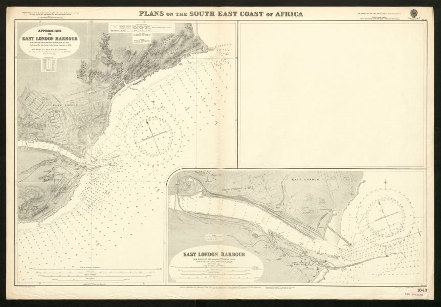 Associate Product East London Harbour approaches. Admiralty sea chart. South Africa 1932 old map